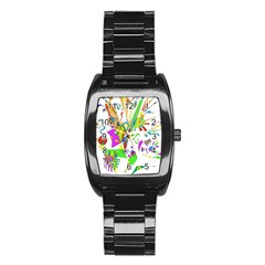 Splatter Life Stainless Steel Barrel Watch