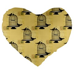 Victorian Birdcage Large 19  Premium Flano Heart Shape Cushion