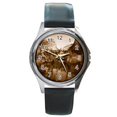 Native American Round Leather Watch (silver Rim)