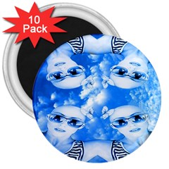 Skydivers 3  Button Magnet (10 Pack)
