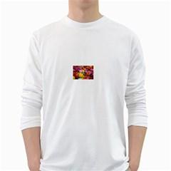 Flower Men s Long Sleeve T Shirt (white)