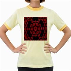 Red Alaun Crystal Mandala Women s Ringer T-shirt (Colored)