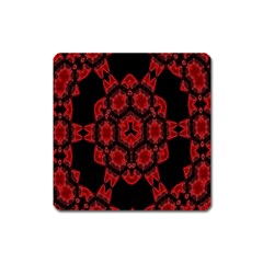 Red Alaun Crystal Mandala Magnet (square)