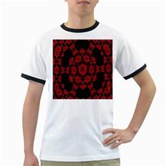 Red Alaun Crystal Mandala Men s Ringer T-shirt