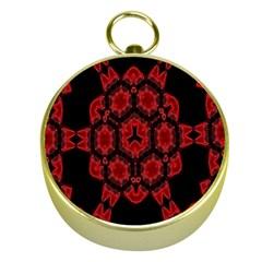 Red Alaun Crystal Mandala Gold Compass