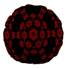 Red Alaun Crystal Mandala Large 18  Premium Flano Round Cushion