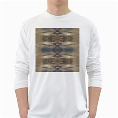 Wildlife Wild Animal Skin Art Brown Black Men s Long Sleeve T-shirt (White)