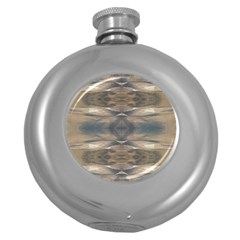 Wildlife Wild Animal Skin Art Brown Black Hip Flask (round)