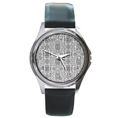 Grey White Tiles Geometry Stone Mosaic Pattern Round Leather Watch (silver Rim)