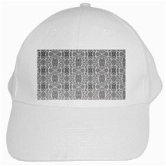 Grey White Tiles Geometry Stone Mosaic Pattern White Baseball Cap