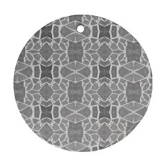 Grey White Tiles Geometry Stone Mosaic Pattern Round Ornament