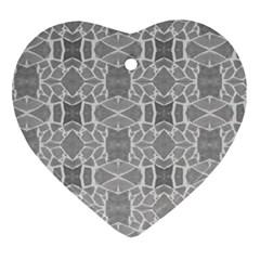 Grey White Tiles Geometry Stone Mosaic Pattern Heart Ornament