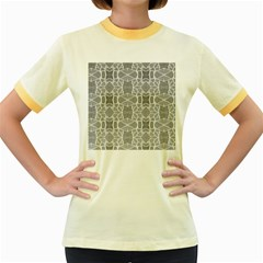 Grey White Tiles Geometry Stone Mosaic Pattern Women s Ringer T-shirt (Colored)