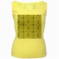 Grey White Tiles Geometry Stone Mosaic Pattern Women s Tank Top (yellow)