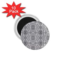 Grey White Tiles Geometry Stone Mosaic Pattern 1 75  Button Magnet (10 Pack)