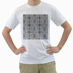 Grey White Tiles Geometry Stone Mosaic Pattern Men s Two Sided T Shirt (white)