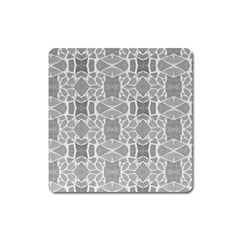Grey White Tiles Geometry Stone Mosaic Pattern Magnet (square)