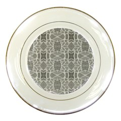 Grey White Tiles Geometry Stone Mosaic Pattern Porcelain Display Plate