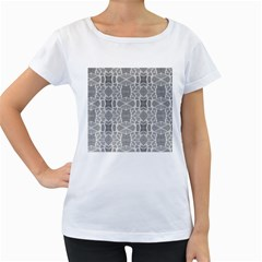 Grey White Tiles Geometry Stone Mosaic Pattern Women s Loose Fit T Shirt (white)