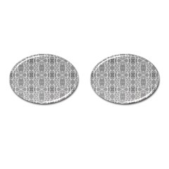 Grey White Tiles Geometry Stone Mosaic Pattern Cufflinks (oval)