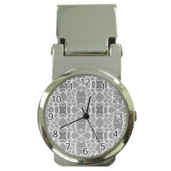 Grey White Tiles Geometry Stone Mosaic Pattern Money Clip With Watch