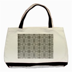 Grey White Tiles Geometry Stone Mosaic Pattern Classic Tote Bag