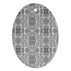 Grey White Tiles Geometry Stone Mosaic Pattern Oval Ornament (two Sides)