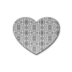 Grey White Tiles Geometry Stone Mosaic Pattern Drink Coasters (heart)