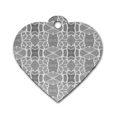 Grey White Tiles Geometry Stone Mosaic Pattern Dog Tag Heart (One Sided)