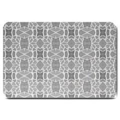 Grey White Tiles Geometry Stone Mosaic Pattern Large Door Mat