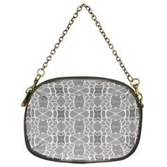 Grey White Tiles Geometry Stone Mosaic Pattern Chain Purse (two Sided)