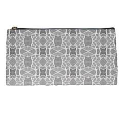 Grey White Tiles Geometry Stone Mosaic Pattern Pencil Case
