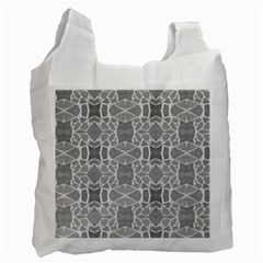 Grey White Tiles Geometry Stone Mosaic Pattern White Reusable Bag (two Sides)