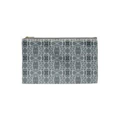 Grey White Tiles Geometry Stone Mosaic Pattern Cosmetic Bag (small)