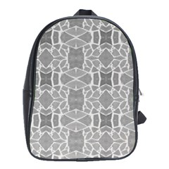 Grey White Tiles Geometry Stone Mosaic Pattern School Bag (large)