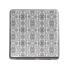 Grey White Tiles Geometry Stone Mosaic Pattern Memory Card Reader With Storage (square)