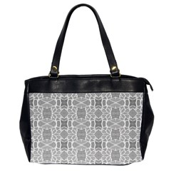 Grey White Tiles Geometry Stone Mosaic Pattern Oversize Office Handbag (two Sides)