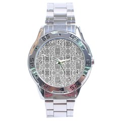 Grey White Tiles Geometry Stone Mosaic Pattern Stainless Steel Watch