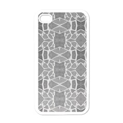 Grey White Tiles Geometry Stone Mosaic Pattern Apple Iphone 4 Case (white)