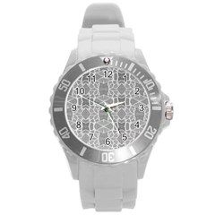 Grey White Tiles Geometry Stone Mosaic Pattern Plastic Sport Watch (large)