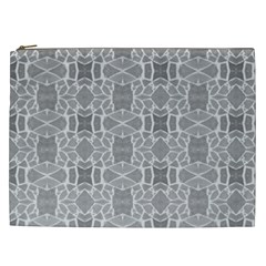Grey White Tiles Geometry Stone Mosaic Pattern Cosmetic Bag (xxl)