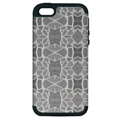 Grey White Tiles Geometry Stone Mosaic Pattern Apple Iphone 5 Hardshell Case (pc+silicone)