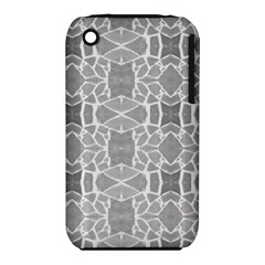 Grey White Tiles Geometry Stone Mosaic Pattern Apple iPhone 3G/3GS Hardshell Case (PC+Silicone)
