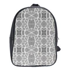 Grey White Tiles Geometry Stone Mosaic Pattern School Bag (xl)