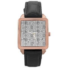 Grey White Tiles Geometry Stone Mosaic Pattern Rose Gold Leather Watch
