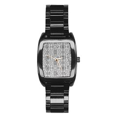 Grey White Tiles Geometry Stone Mosaic Pattern Stainless Steel Barrel Watch