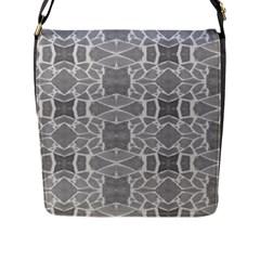 Grey White Tiles Geometry Stone Mosaic Pattern Flap Closure Messenger Bag (large)