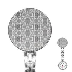 Grey White Tiles Geometry Stone Mosaic Pattern Stainless Steel Nurses Watch