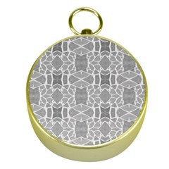 Grey White Tiles Geometry Stone Mosaic Pattern Gold Compass