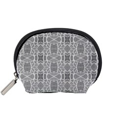 Grey White Tiles Geometry Stone Mosaic Pattern Accessory Pouch (Small)